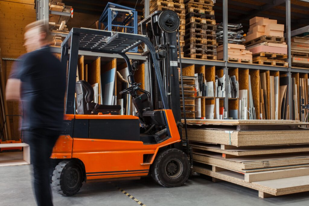 forklift carrying inventory