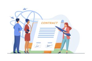 business partner by signing contract